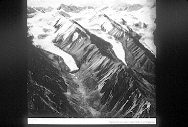 A black and white photo of two glaciers side by side