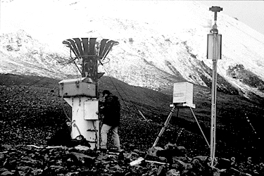 This photo consists of three main instruments used to collect data from a glacier.